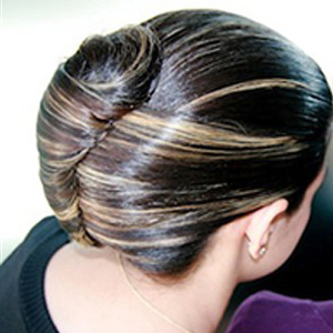 The classic chignon hairstyle.